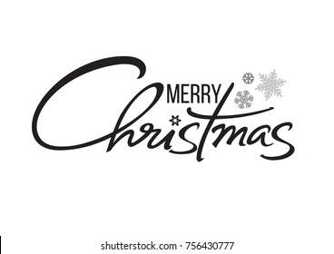 Merry Christmas typography. Calligraphic hand drawn lettering design. Vector text isolated on white background.