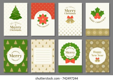Merry Christmas typography and elements for holidays with greeting card template and pattern