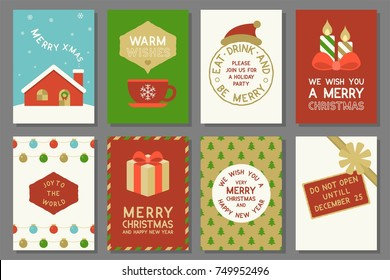 Merry Christmas typography and elements such as greeting card, do not open until december 25, invitation card for holidays and repeat pattern background