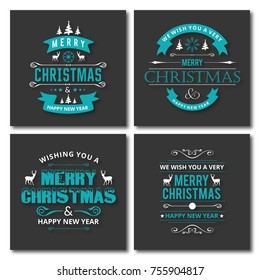 Merry Christmas Typography for Greeting Card Design and Decorations