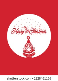 Merry christmas typography happy new year pattern style christmas quote lettering