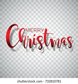 Merry Christmas Typography illustration on a transparent background. Vector logo, emblems, text design for greeting cards, banner, gifts, poster