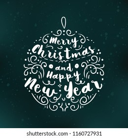 Merry Christmas. Typography. Vector logo, text design. Greeting card.