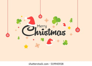 Merry Christmas Typography Vector. Vector logo, emblems, text design. You can use for banners, greeting cards, gifts, and invitation card etc.