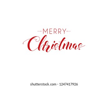 Merry Christmas typography. Xmas calligraphy on white background. Christmas red, lettering. Xmas isolated calligraphy. Banner, postcard, poster design element. Vector illustration