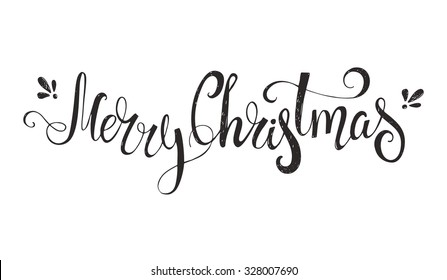 Merry Christmas - unique handdrawn typography poster. Vector art. Great design element for congratulation cards, banners and flyers.