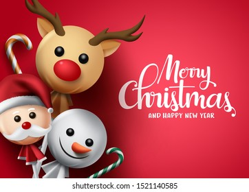 Merry christmas vector background template. Merry christmas greeting text in red empty space with candy cane and lollipop on reindeer, santa claus and snow man xmas cover. Vector illustration.