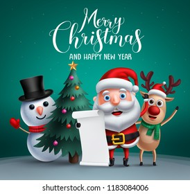 Merry christmas vector banner design with christmas character like santa claus, reindeer and snowman holding wish list and a christmas tree element in background. Vector illustration.