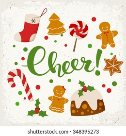 Merry Christmas vector card. Cheer! calligraphy. Food icons.