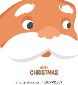 Merry Christmas vector card with funny Santa Claus face close-up. Hand drawn lettering. Happy New Year or Xmas illustration. Cute Father Frost cartoon character. Holiday design template.