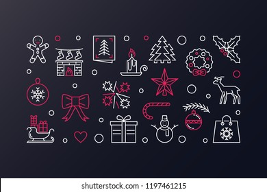Merry Christmas vector creative illustration. Xmas banner in thin line style on dark background