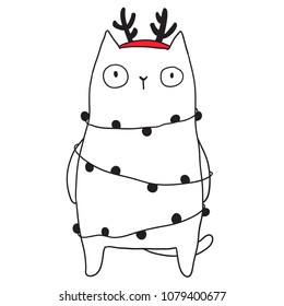 Merry Christmas vector cute illustration with funny cat. Holiday hand drawn image for you project.