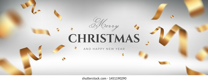 Merry Christmas vector design. White golden background with flying gold confetti and congratulations text. Elegant festive decoration, long panoramic gift card or wide web banner layout template
