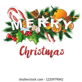 Merry Christmas vector editable illustration. Sweets background