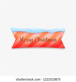 Merry Christmas. Vector Festive Banner Isolated on White Background. Colorful Banner with Snow on Top. Ribbon Colorful Sign with Lines. Web Icon. Creative Vector Illustration.