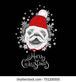 Merry Christmas vector funny card.Handdrawn dog face.