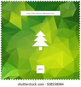 Merry christmas vector green polygonal background.