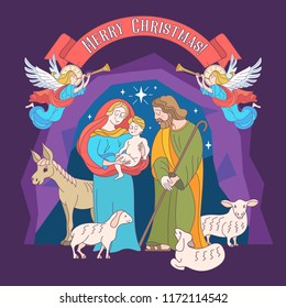 Merry Christmas. Vector greeting card. Virgin Mary, baby Jesus and Saint Joseph the betrothed. The Christmas scene.