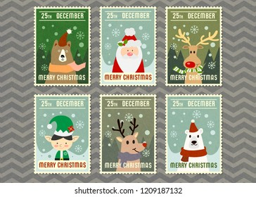 Merry Christmas and vector greeting card with cartoon character in postage stamp style. Merry Christmas vector illustration Background.