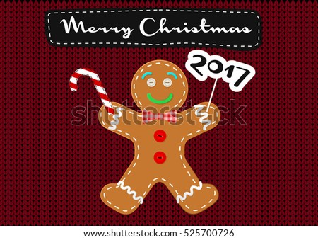 Merry Christmas Vector Greeting Card Gingerbread Stock Vector