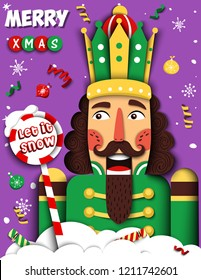 Merry Christmas vector illustration with cool nutcracker, snowflakes, snow, balls, space for text in paper cut style. Creative winter design for greeting card, invites, ads, brochure, flyer, poster