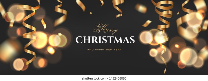 Merry Christmas vector luxury banner design. Black golden background with flying gold confetti and sparkling text. Elegant festive decoration, long panoramic gift card or wide web layout template