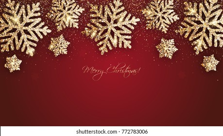 Merry Christmas - Vector christmas red background with gold snowflakes and shiny glitter