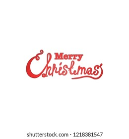 Merry Christmas vector text Calligraphic Lettering design card template. Creative typography for Holiday Greeting Gift Poster. Calligraphy Font style Banner. Red color.
