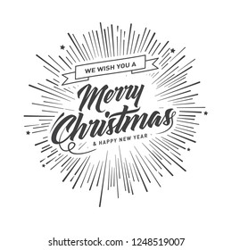 Merry Christmas vector text Calligraphic Lettering design card template. Creative typography for Holiday Greeting Gift Poster. Calligraphy Font style Banner.