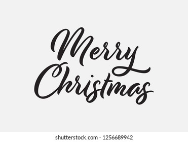 Merry Christmas vector text Calligraphic Lettering design card template. Creative typography for Holiday Greeting Gift Poster. Hand lettering inscription to winter holiday design, calligraphy vector.