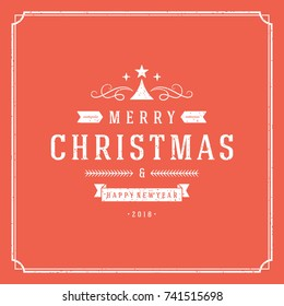 Merry Christmas vector text design greeting card template typography for holiday poster or postcard. Red textured background and frame.