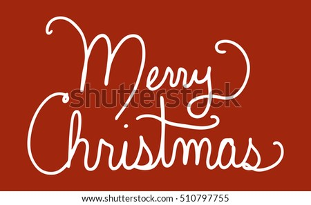 merry christmas vector in white cursive handwriting typography on dark red background simple holiday greeting