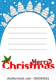 Merry Christmas vertical card with snowy landscape