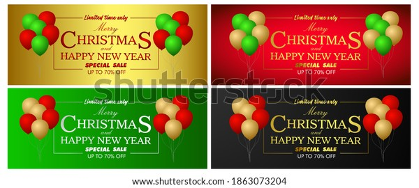 Merry Christmas Vintage Background With Beautiful Typography and balloon Elements for holiday and new year event