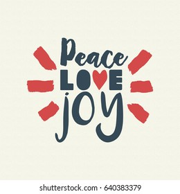 Merry Christmas vintage calligraphic quote design, peace love joy lettering illustration for holiday season greeting card. EPS10 vector.