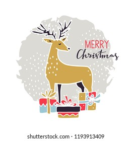Merry Christmas vintage card. Deer, gifts. Hand drawn isolated on white background. Handwritten font, lettering