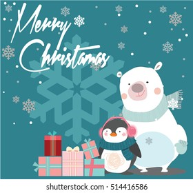Merry Christmas vintage card with penguin and present box. Vector illustration