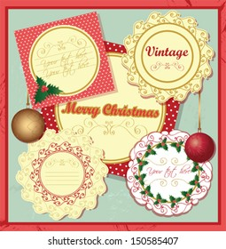 Merry Christmas vintage card set