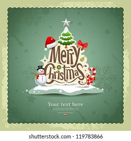 Merry Christmas vintage design greeting card background, vector illustration