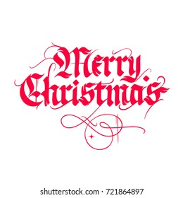 Merry Christmas, vintage gothic lettering isolated on white