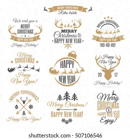 Merry Christmas vintage labels set on magic background for greeting card and decoration. Happy New Year. Holiday decoration element. Happy Holiday. Vector Illustration