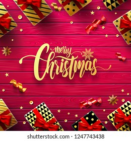 Merry Christmas with vintage red Wooden board background,gift box and christmas decoration elements for Retail, Shopping or Christmas and new year Promotion in golden and red style.vector EP10