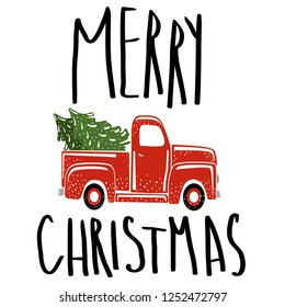 Merry Christmas vintage retro red truck. Christmas pickup truck with christmas tree.