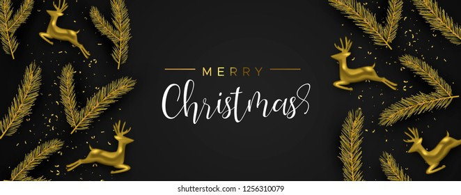 Merry Christmas web banner: gold realistic reindeer and pine tree leaf on black background. Luxury holiday layout illustration.