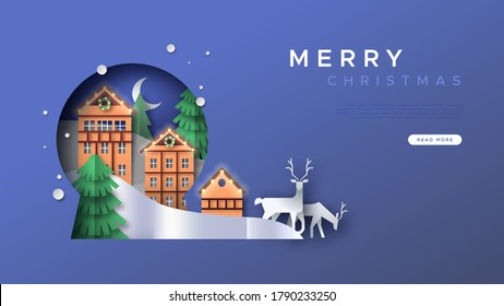 Merry Christmas web landing page template illustration of papercut winter landscape inside snow globe shape cutout. 3D paper craft reindeer, pine tree forest and gingerbread house village.