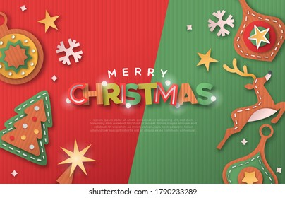 Merry Christmas web template illustration of xmas decoration made in 3d papercut craft style. Recycled cardboard paper holiday icons background with copy space for festive landing page.