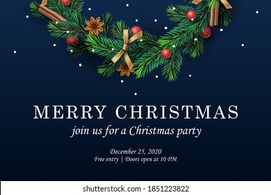 Merry Christmas. Web template with Christmas wreath, vector illustration.