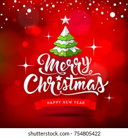 Merry Christmas white lettering with Christmas tree design on red background, vector illustration