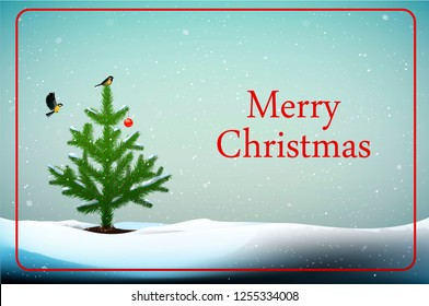 merry Christmas winter card, Small Christmas tree with titmouse bird on the top  and red ball decoration growing in snowdrifts and text Merry Christmas, Eco Christmas idea, vector