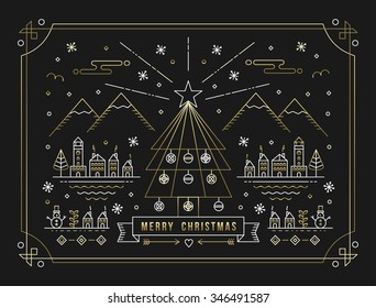 Merry Christmas winter city with decoration, Xmas tree and holiday elements in gold outline style. Ideal for greeting card, poster or web. EPS10 vector.
